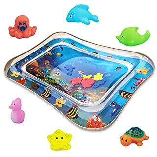 My First Inflatable Water Play Mat for Infants Sea World, Tummy Time Premium Large Water Mat Baby Activity Center Toys for Babies Kids with Pump, 6 Pinch Toys