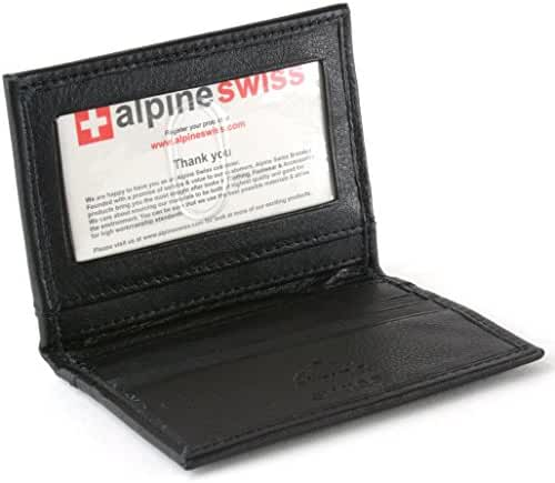Alpine Swiss Thin Front Pocket Wallet Business Card Case 2 ID Window 6 Card Slot
