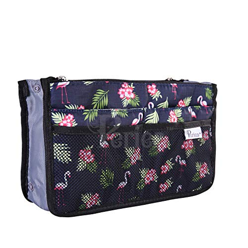 (Periea Handbag Organizer - Chelsy - 28 Colors Available - Small, Medium or Large (Large, Blue with Flamingos))