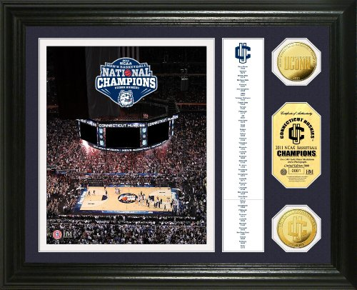 (NCAA Connecticut Huskies 2011 National Champions 24KT Gold Banner Photo Mint)