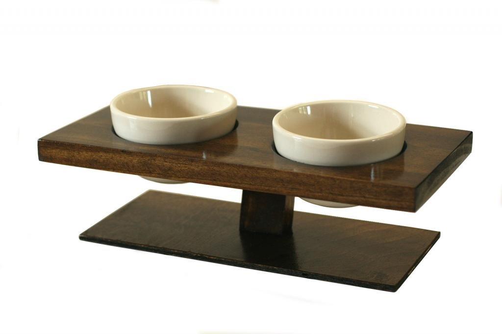 amazoncom kmg designs cat or small dog food bowl dish set elevated floating walnut pet supplies - Cat Bowls
