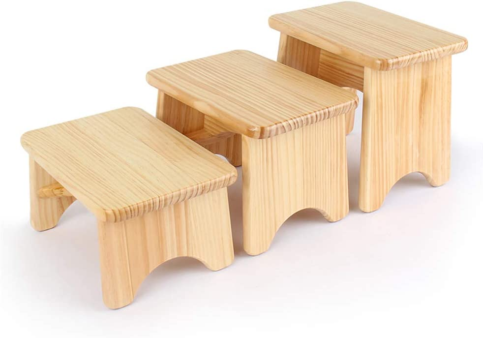GOLDEN SUN Solid Pine Wood Step Stool High Gloss Foot Stool for Kitchen Bedroom Living Room Bathroom Pack of 1 (7.9 inch Height)