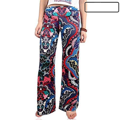 Donne Pantalone Pantaloni Donna Per Fashion Vita Vintage Eleganti Sciolto Accogliente Elastica Larghi Libero Battercake Tempo Casuale Estivi Stampate UvTxRRZw5q