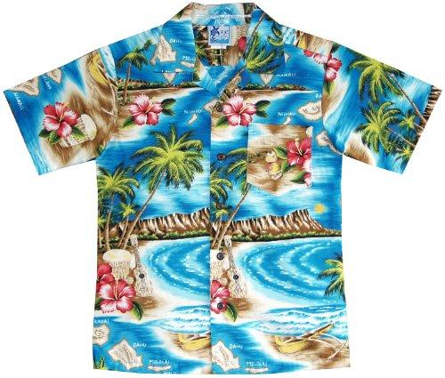 RJC Boys Hibiscus Hawaiian Island Shirt in Turquoise - 6 -