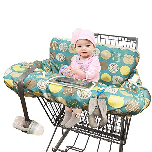 Cheapest Price! Shopping Cart Covers for Baby, Large High Chair Cover with Cell Phone Holder for Toddler boy Girl, Grocery Cart Cover, Padded(Polka Cute)
