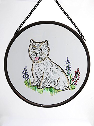 Decorative Hand Painted Stained Glass Window Sun Catcher/Roundel in a West Highland Terrier Design. Westieround