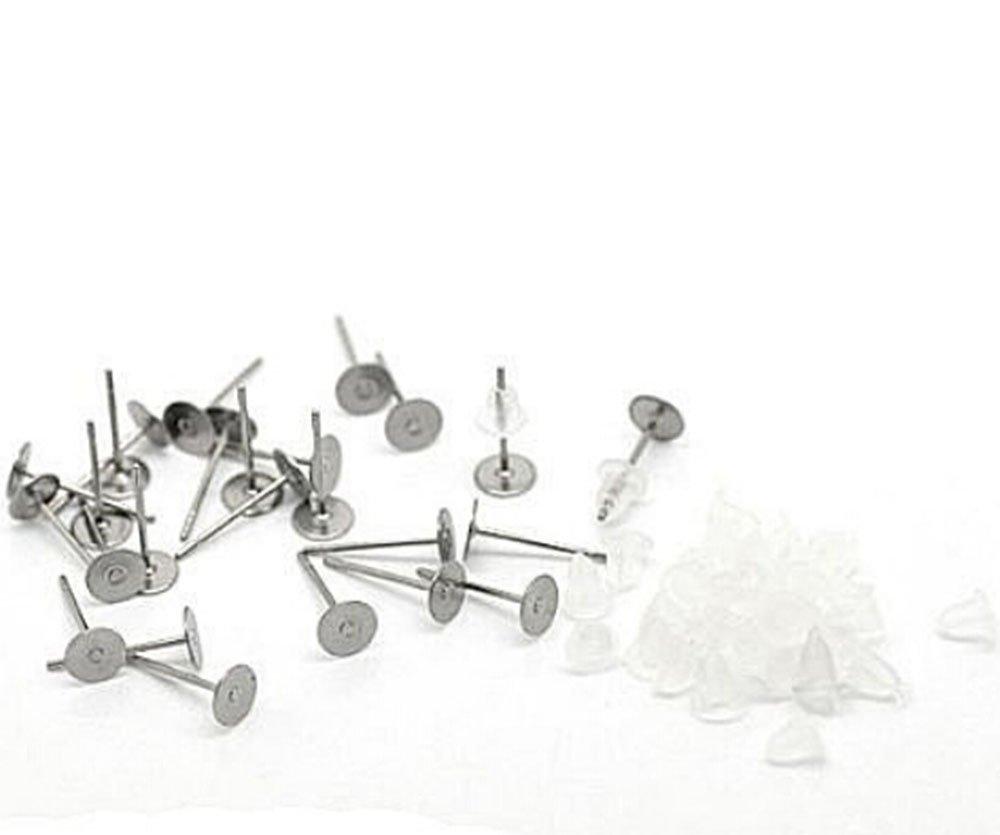 Cooplay 100x en acier inoxydable plat Pad trouver Plus 100 earnut Bouchons en caoutchouc Lot de 50 jeux avec 12 mm Boucles doreille Post