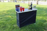 Sports Festival Portable High Top Party Bar, Includes 2 Front Skirts and Carrying Case (Black Top)