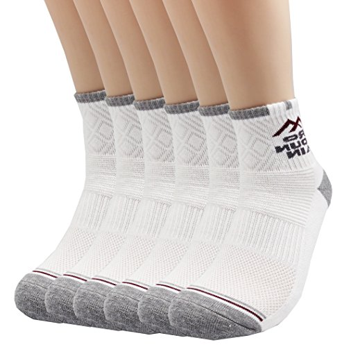 - Pro Mountain Cotton Quarter Ankle Cushion All Day Hiking Athletic Sports Socks (M(US Women Shoes 7.5~9.5=Men 6.5~8.5), White 6pairs Pack M-size)