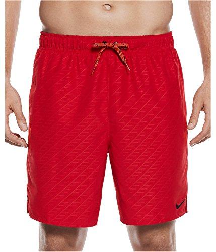 NIKE Men's Embossed Volley Swim Trunks (XXL, Gym Red)