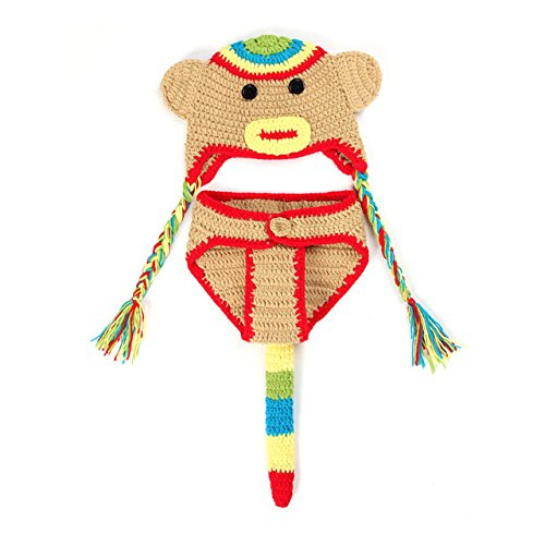 ArMordy(TM) Monkey Crochet Baby Photography Props Hand Made Knitting Newborn Crochet Outfits Baby Costume for 0-3 Months 1 Set[ Yellow (Dog Skunk Halloween)