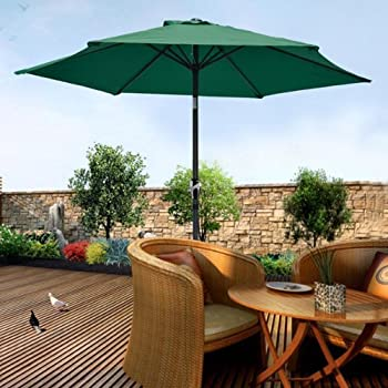 Exceptional 8 Foot Green Polyester Outdoor Tilting Patio Furniture Umbrella W/ Crank