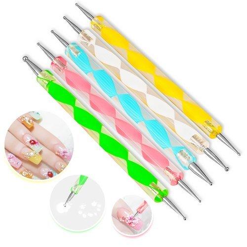 5x Da.Wa Colorful 2 Way Dotting Pen Tool Nail Art Tip Dot Paint Manicure Kit