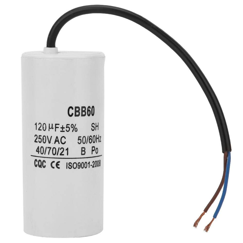 CBB60 Run Capacitor,with Wire Lead 250VAC 120uF 50/60Hz Capacitor for Motor Air Compressor