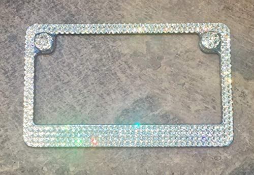 Motorcycle License Plate Frame made with Swarovski Crystals - 4 Row - Motorcycle Jewelry ()