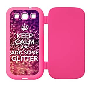 Keep Calm and add some glitter Design Rubber Custom Flip Case Cover Protector for SamsungGalaxyS3 I9300