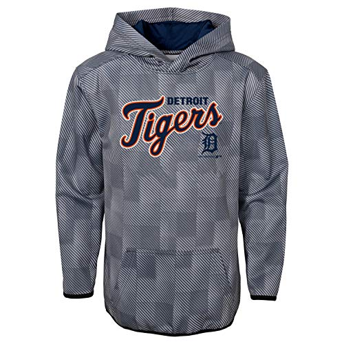 Tiger Athletic Sweatshirt - Outerstuff MLB Youth Performance Heather Gray First Pitch Pullover Sweatshirt Hoodie (Large 12/14, Detroit Tigers)