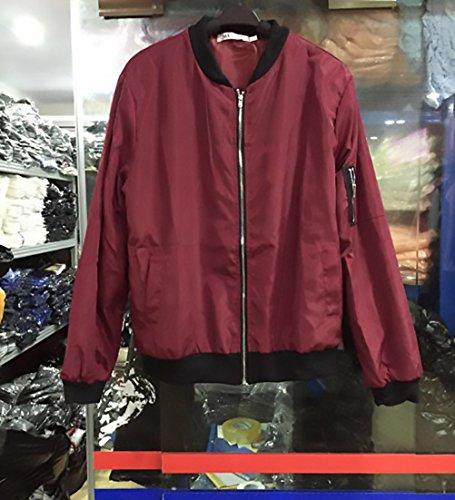Puro Autunno Ragazza Tasche Rosso Hx Cappotti Longsleeve Coreana Giacca Fashion Invernale Casuale Collo Anteriori Donna Corti Giubbotto Giacche Cerniera Eleganti Tops Baggy Chic Colore Cappotto qgtSg1r