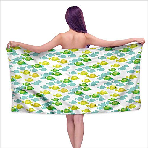 Tankcsard Bath Towel bar Aquarium,Small Pet Fishes Pattern,W28 xL55 for Youth Girls Cotton