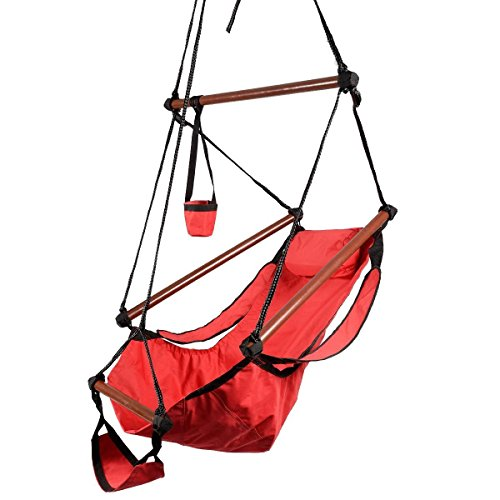HPD Hammock Hanging Chair Air Deluxe Sky Swing Chair Solid Wood 250lb Outdoor Indoor (Red)