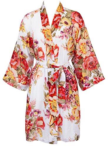 Leisureland Women's Cotton Lightweight Short Kimono Robe Vintage Floral 36
