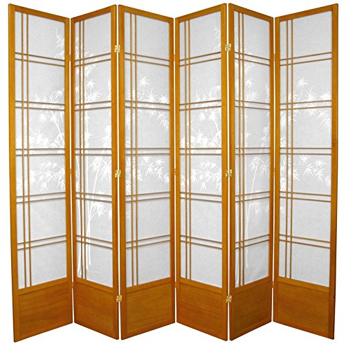 Oriental Furniture 7 ft. Tall Bamboo Tree Shoji Screen - Honey - 6 Panels