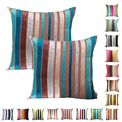 Queenie® - 2 Pcs Chenille Stripe Decorative Pillowcase Cushion Cover for Sofa Throw Pillow Case Available in 15 Colors & 5 Sizes (20