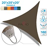 Patio Paradise 20'x 20' x 20'' Strengthen Large Sun Shade Sail Reinforced by Steel Wire- Brown Triangle Heavy Duty Permeable UV Block Fabric Durable Patio Outdoor Garden Backyard