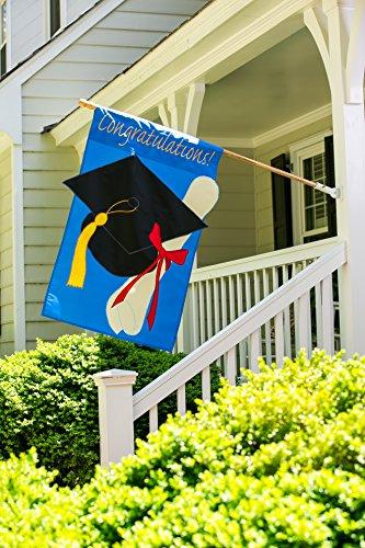 Evergreen Graduation Congratulations Double-Sided Appliqué House Flag - 28