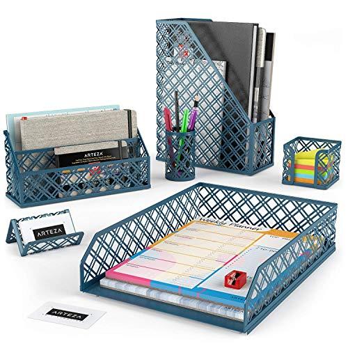 Arteza Organizadores de escritorio en verde oscuro | 6 accesorios | Portalapices, clasificador de cartas, bandeja de correo, revistero, tarjetero y porta-posits | Ideal para el hogar y la oficina