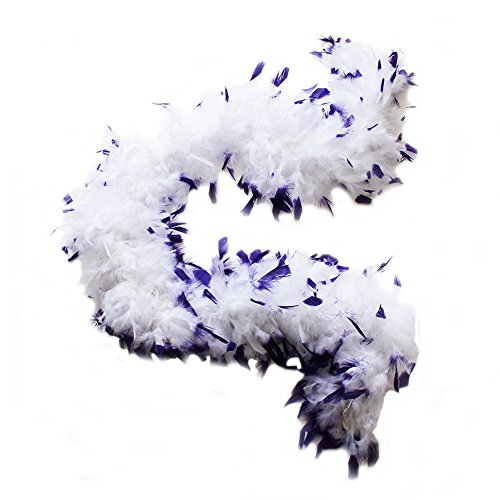 (45 grams Chandelle Feather Boas, Over 40 Colors & Patterns to Pick Up (White with Purple Tips))
