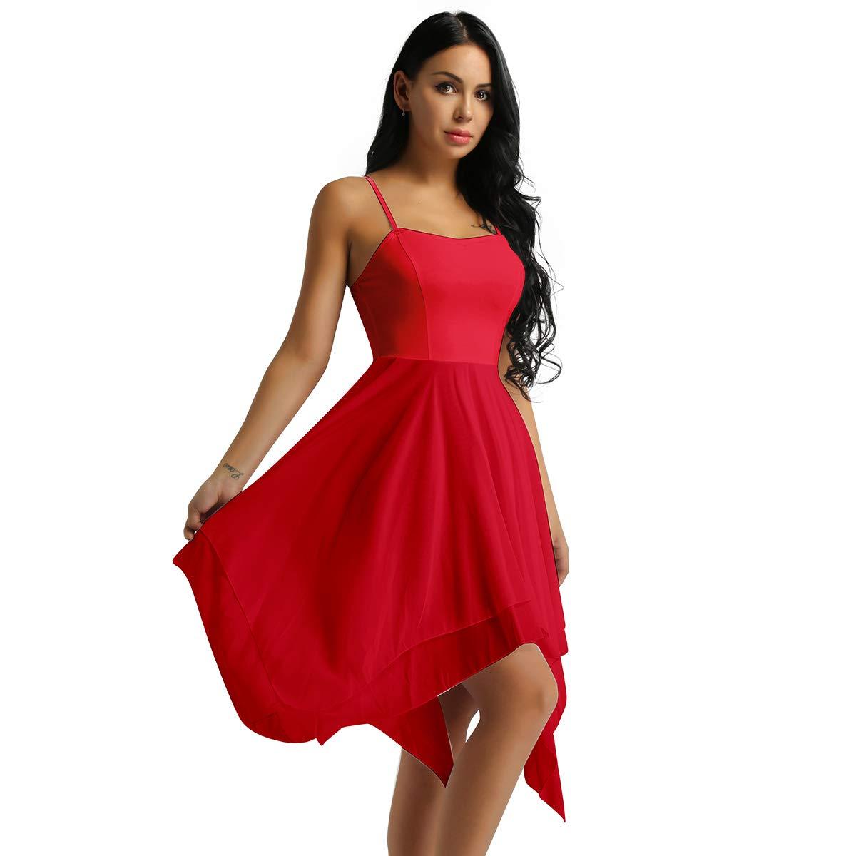 easyforever Womens Elegant Lyrical Ballet Contemporary Dance Dresses Asymmetric Sweetheart Dress