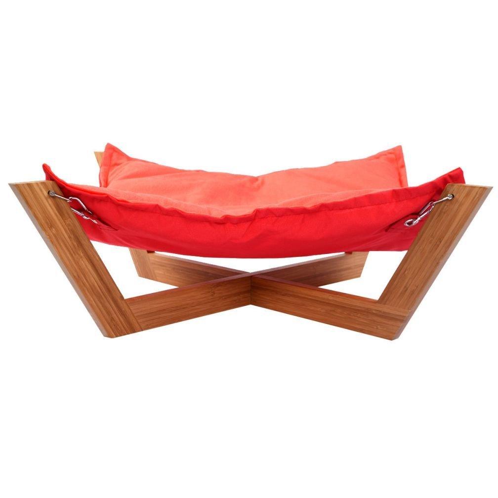 ファッションペットラウンジハンモックベッド犬Nap Mat Cat Sleepingパッドクッション竹クロスレッド B01FUCFOM6