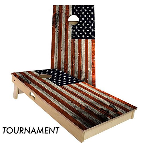 Vertical American Flag Cornhole Board Set 4' by 2' Tournament size by Slick Woody's Cornhole Co.