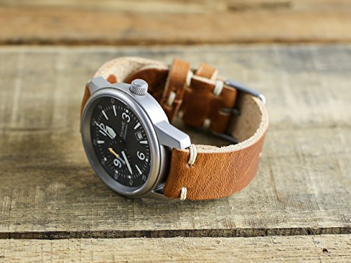 Horween Leather Watch Strap - English Tan leather with polished thumbnail buckle - 18mm, 20mm, 22mm watch bands -