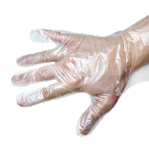 Disposable Gloves- Clear Plastic Large Disposable Cooking, Cleaning, Kitchen Food Handling Gloves, 100 Pieces
