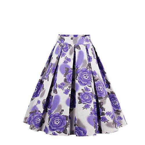 VintageJupe de Jupe Ligne Evas 50 Style de Swing NALATI Jupe Jupe Annes Pliss Jupe Imprime Jupe Haute Floraux Taille A Violet Jupe Femme PqfSwx