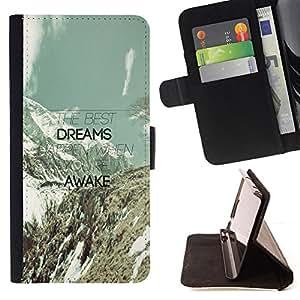 BullDog Case - FOR/Apple Iphone 5 / 5S / - / dreams awake mountains clouds teal message /- Monedero de cuero de la PU Llevar cubierta de la caja con el ID Credit Card Slots Flip funda de cuer