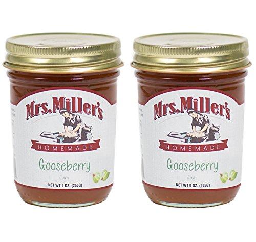 Mrs. Miller's Amish Homemade Gooseberry Jam 9 Ounces - Pack of 2 (Gooseberry Jam)