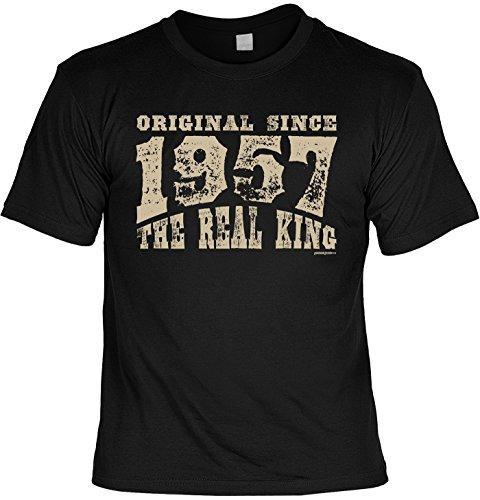 T-Shirt - Original Since 1957 - The Real King - lustiges Sprüche Shirt als Geschenk zum 60. Geburtstag