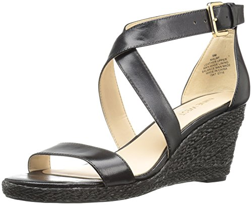 (Nine West Women's Jay Leather Wedge Sandal Black 7.5 M US)