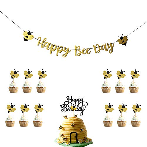 Happy Bee Day Gold Glitter Banner & Happy Bee Day Cake Topper & 12pcs Glittery Bumble Bee Cupcake Toppers for Bumble Bee Themed Happy Birthday Party Supplies -
