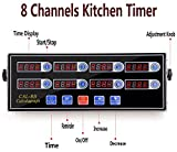 ZzPro 8 Channel Digital Kitchen Timer Clock Reminder Cooking Commercial Loud Ring Alarm Stainless Steel Timers Calculagraph