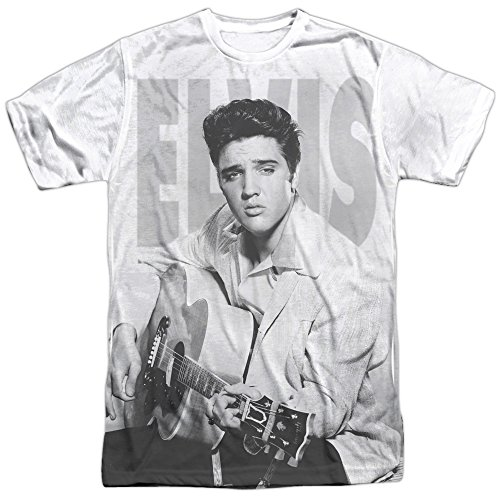 Elvis Presley - Play Me A Song - All-Over Front Print Sports Fabric Adult T-Shirt - Medium White