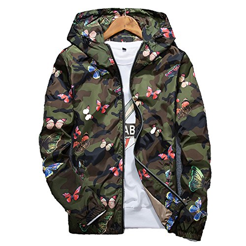 Allonly Men's Fashion Butterfly Printed Camouflage Long Sleeves Zip-up Hoodie Windbreaker (Mens Printed Racer)