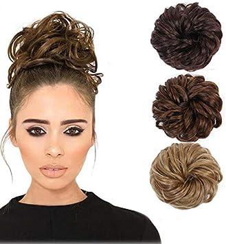 Jpaios Piece Chignon Donut Cheveux Boucles Ondules Pour Femme Decoiffe Amazon Fr Beaute Et Parfum