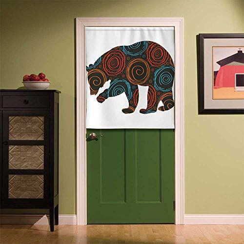 YOLIYANA Animal Fabric Art Door Curtain,Cute Bear Silhouette Covered with Abstract Circular Spiral Shapes Dots Illustration for Locker Room Store Privacy Space,35.43''W x 39.37''H