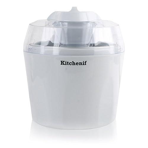 4. Kitchenif Ice Cream, Sorbet, Slush & Frozen Yoghurt Maker Capacity 1.5 Liters (White)