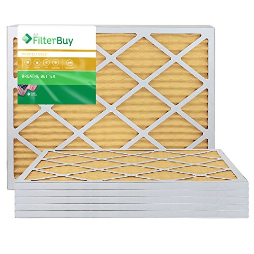 FilterBuy 20x27x1 MERV 11 Pleated AC Furnace Air Filter, (Pack of 6 Filters), 20x27x1 – Gold