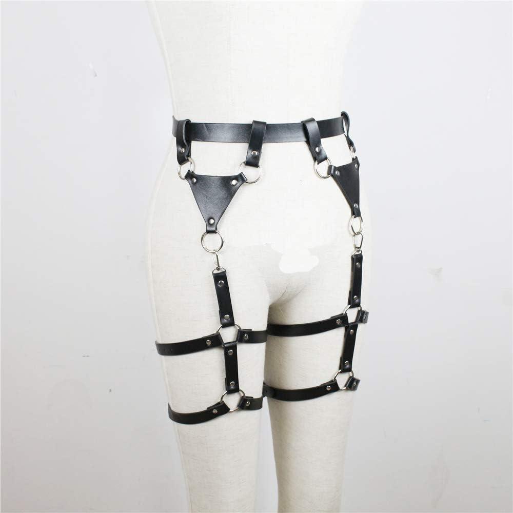 TOPFUR Damen PU Leder Body Harness Belt Verstellbare Punk Taille Bein Strumpfg/ürtel